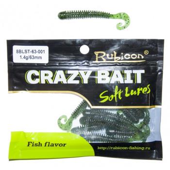 Съедобная силиконовая приманка RUBICON Crazy Bait BLST 1.4g, 63mm, цвет 001 (10 шт)